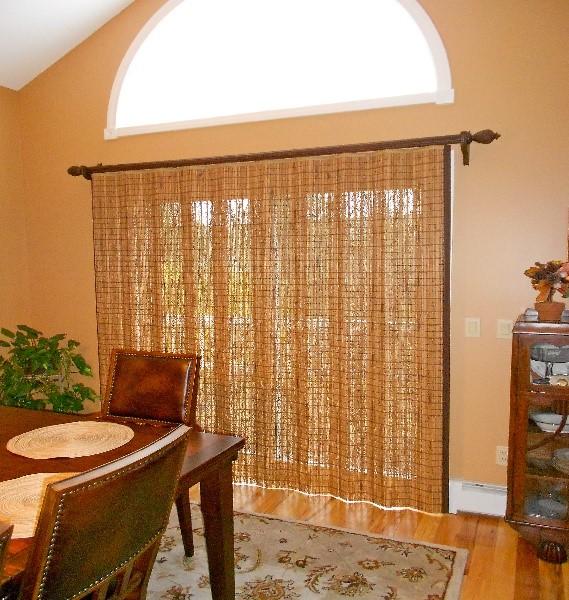 Woven wood sliding draperies